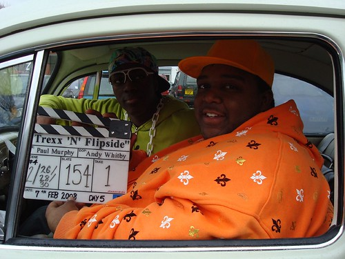 Inside the car with the clapperboard!