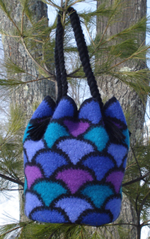 Felted Crochet Stained Glass Flower Bag