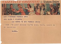 Valentine Greeting: Grandpa to Grandma (deflam) Tags: arizona phoenix vintage war wwii valentine 1940s grandparents vanburen ww2 valentines greeting telegram worldwar2 worldwartwo westernunion