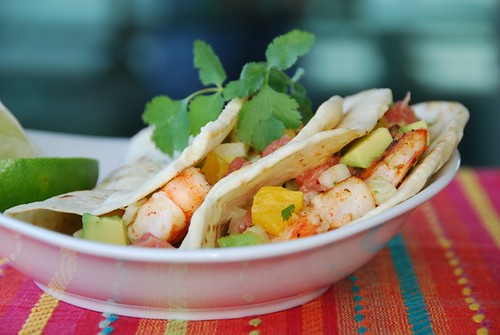 shrimp tacos with citrus-avocado salsa