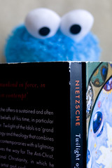 {86} cookie monster reads (KatLevPhoto) Tags: blue black toy reading books stuffedanimal irony cookiemonster philosopher nietzsche 2603 philosphy explored 86366 photo366