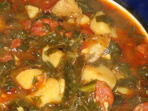 kale, chorizo, potato soup