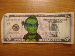 Teenage Mutant Ninja Lincoln (Joe D!) Tags: money d ninja joe lincoln government mutant presidents tender defaced dollars teenage joed refacing