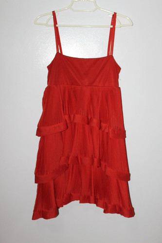 H&M Layered Chiffon Ruffled Dress in Red
