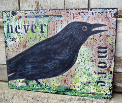 nevermore (JoMo (peaceofpi)) Tags: wood canada bird art painting rust colorful acrylic decay contemporary grunge small faded crow raven poe corvid edgarallanpoe nevermore corvidae quoththeraven peaceofpi jomobimo