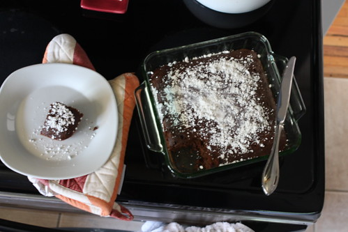 cake and slice on top of oven