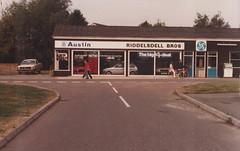 "Riddelsdell Bros Austin/BL garage, Boxford, Suffolk c.1981/82 (Spottedlaurel) Tags: marina austin suffolk metro morris 1980s ital boxford bros"" ""riddelsdell"