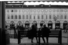 Old Friends #2 (Alberto Pasini) Tags: friends bw italy torino streetphotography oldfriends piazzasancarlo albertopixel