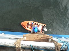 Rob climbing down the rope ladder to the rescue boat, 5 decks down!