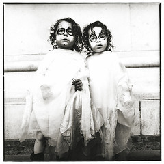 Espiritos (Benjamin Goss) Tags: nyc portrait bw 120 film halloween analog darkroom children kodak hasselblad ghosts benjamin intuition goss scaned ixtlan 6x6cm artlibre dockumentary kubrickslook maryellenmarkworkshop benjamingoss gelitainsilverprint silvergelitainprint benjamingossphotography wwwbenjamingossphotographycom