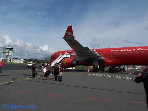 Walking towards the aircraft