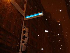 Michigan Avenue sign in snow