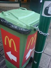 <-- m (colour*junki) Tags: green logo sticker disposal mcdonalds bin m litter arrow waste winchester mcd macdonalds wheelie refise