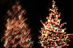 Two Views (nionr) Tags: holiday night lensbaby lights blurred christmastree coloredlights
