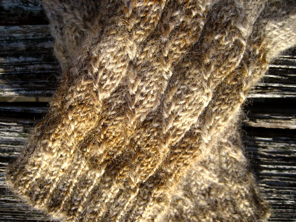 Handspun Husband Mitts - faux cable detail