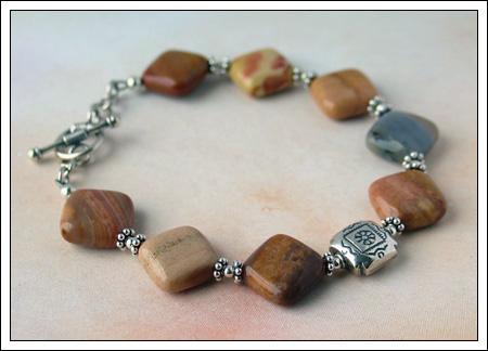 Rainbow onyx & silver bracelet