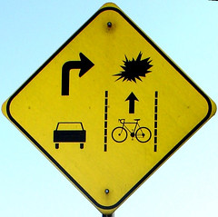 Stanford Right Hook warning sign