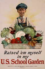 5RaisedEm.jpg (spiffydamnpoodle) Tags: old light people food boys students sunshine smiling vintage garden tomato poster pepper 1 clothing corn education war basket symbol antique eggplant text fineart visualarts vegetable apron potato cap cauliflower americans males prints whites p