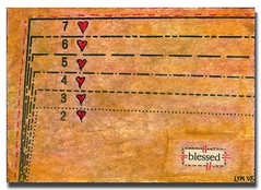 ATC # 17 'blessed' (laura*tm) Tags: atc vintage hearts mixedmedia aceo dresspattern