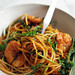 Spaghetti with prawns and rocket.
