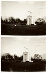 Peace Arch ~ United State of America and Canadian Border ~ 1998 (brettbigb) Tags: old blackandwhite bw usa canada work polaroid washington arch peace bc britishcolumbia unity border americanflag 1998 polaroids oldpictures canadianflag 667 peacearch oldwork landcamera polaroidlandcamera polaroid667 automatic230 savepolaroid savepolaroids 1998to2002