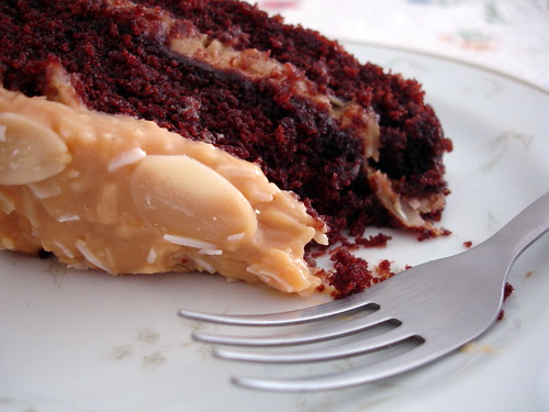 Chocolate cola cake with toasted coconut-almond frosting
