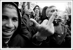 Les doigts dans le nez ;-) (Hughes Lglise-Bataille) Tags: blackandwhite bw paris france topf25 kids education noiretblanc fuck finger protest teenagers demonstration 2008 manif manifestation lycens darcos