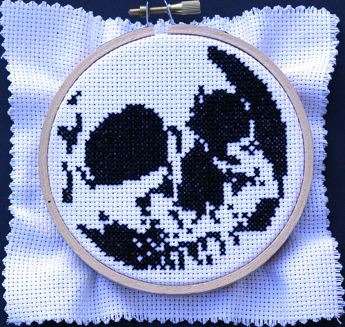 Cross-stitch skull