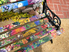 Outdoor Bench (wedmorningtennis) Tags: pictures flowers birds bench colorful outdoor wroughtiron butterflies decoupage birdsblooms