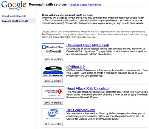 Google Health Screen Shots