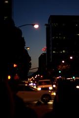 W Santa Clara at Night (S Migol) Tags: california ca street blue sunset urban northerncalifornia night geotagged downtown neon pentax bokeh sanjose halo headlights siliconvalley bluehour southbay aficionados santaclaracounty chromaticaberration ufraw smigol pentaxk10d smcpfa50mmf14 justpentax stephenmigol wsantaclaraatnight