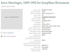 Marriage Index Record, Duffy - Bernemann, Iowa 1914
