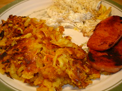 Eggs, spam and curry hashbrowns