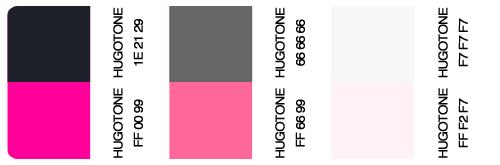 Hugotonera con los seis colores utilizados en el blog