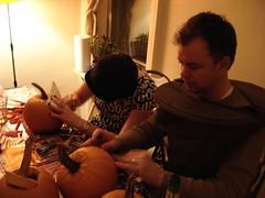 DSC00763 (johnpmccartney) Tags: party halloween coffee newspaper pumpkins hippie krista flinstones