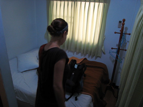 This might have been the smallest hotel room we'd ever stayed in.