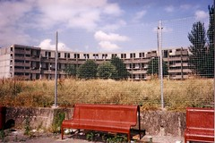 Hulme Crescents (nualabugeye) Tags: demolish bench manchester concrete flats scanned council derelict 1990s oldpics hulme crescents