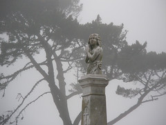 Praying (Allexis) Tags: sculpture cemetery statue fog praying colma