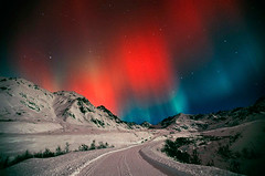 Hatcher Pass. Palmer, Alaska. (Greg Hensel) Tags: road winter light mountain snow alaska night gold colorful mine pass scene aurora matsu northernlights borealis hatcher