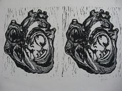 heart/heart, linocut