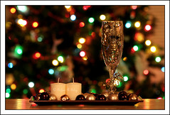 Happy New Year (Rosebud Photography (medieval panda)) Tags: glass bells lights candles bokeh newyear ornaments 75300mm sparkly celebrate oopsiforgottolightthecandles twtmesh020839 ~sparkly~