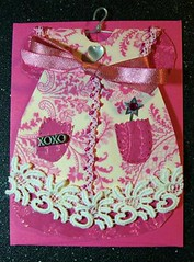 Valentine Card with Vintage Lace (Gina2424) Tags: pink love atc vintage heart lace valentinesday valentinescard atcworld faeriezine vintagevalentineswap