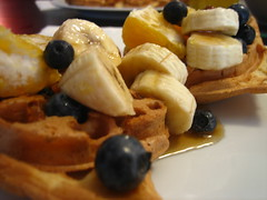 Fruit on waffles