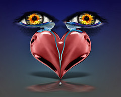Valentines Boo-hoo (ViaMoi) Tags: blue red canada flower color colour art yellow digital photoshop design eyes flickr heart vibrant surreal manipulation chrome adobe hertz valentines augen 2008 farbe stvalentine imagery cs3 druck freetextures viamoi