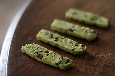 Almond Cookies w/ Matcha and Nibs