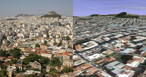 Google Earth vs. Reality - Athens from the Acropolis