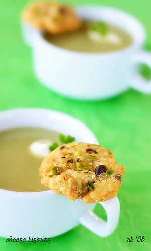 cheese biscuits with kumara and parsnip soup