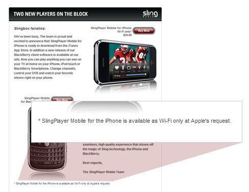 Sling is blaming Apple for the Wi-Fi only SlingPlayer for iPhone