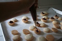 Applying Nutella filling with piping bag
