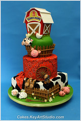 Farm-barn-yard-cake-02 (Cakes.KeyArtStudio.com) Tags: red horse dog white house black rabbit green chicken animals cake kids barn yard fence children pig cow cowboy village child farm montreal country cock chick western lamb piglet bandana hen fondant gumpaste cowprint sugarpaste larissavolnitskaia keyartstudio